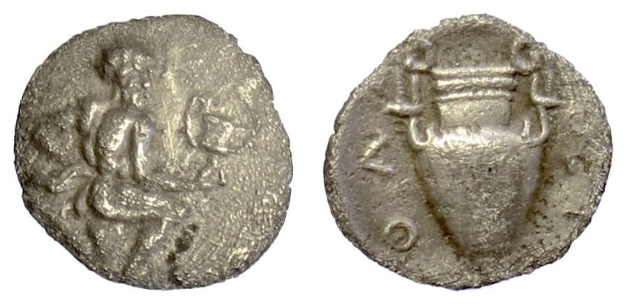 Ancient Coins - THRACE, Thasos. AR trihemiobol, 404-355 BC. Running satyr / Kantharos