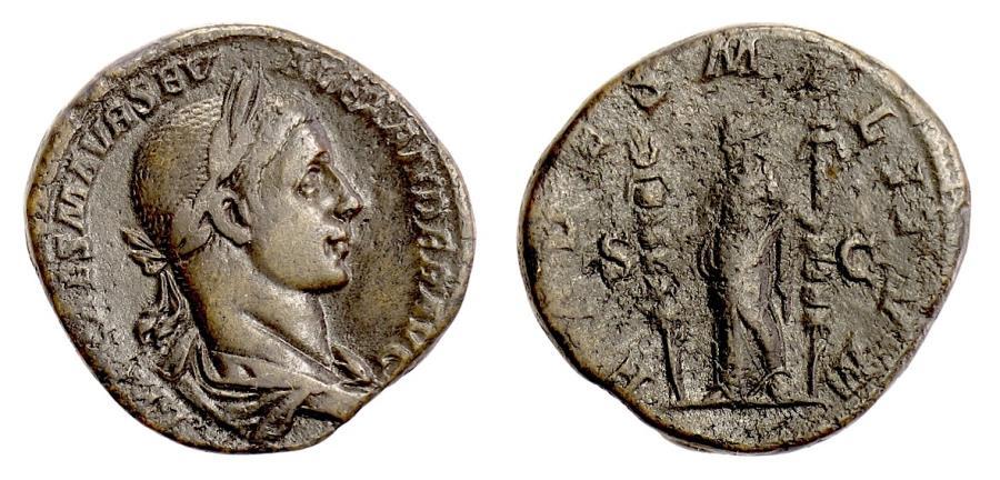 Ancient Coins - Severus Alexander. AE Sestertius, Rome mint, struck 225 AD. Fides
