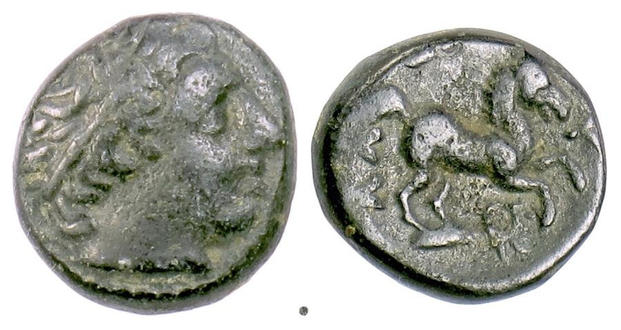 Ancient Coins - KINGS of MACEDON, Alexander III 'the Great'. AE half unit, 336-323 BC. Apollo / Horse prancing