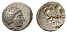 Ancient Coins - KINGS of PAEONIA, Patraos. AR Tetradrachm, circa 335-315 BC. Apollo/Horseman spearing enemy