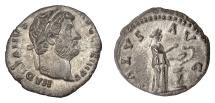 Ancient Coins - HADRIAN. AR denarius, Rome, struck 134-138 AD. Salus feeding serpent
