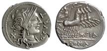 Ancient Coins - Roman Republic, Q. Curtius. AR denarius. Rome mint. 116-115 BC. Roma / Jupiter driving quadriga