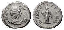 Ancient Coins - JULIA DOMNA. AR denarius, Rome mint. Struck AD 211-215. Diana