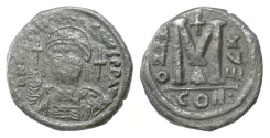 Ancient Coins - BYZANTINE, Justinian I. AE follis. Constantinople mint, dated RY 18 (544/5 AD)
