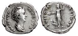 Ancient Coins - Faustina Senior. AR Denarius, Rome mint, 138-141 AD. Juno & peacock