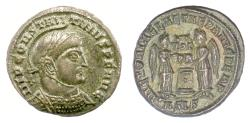 Ancient Coins - Constantine I. AE follis, Siscia mint, struck 319 AD. Two Victories