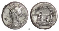 Ancient Coins - Roman Republic, P. Licinius Nerva. AR denarius, Rome mint. 113/2 BC. Roma / Citizens voting