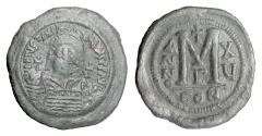 Ancient Coins - BYZANTINE, Justinian I. AE follis, Constantinople mint, dated RY 15 (541/542 AD)
