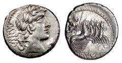Ancient Coins - Roman Republic, AR Denarius, C. Vibius C.f. Pansa. Rome mint, 90 BC. Apollo / Minerva driving quadriga