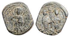 Ancient Coins - BYZANTINE, Constantine X. AE follis, 1059-1067. Christ facing / Eudocia & Constantine facing