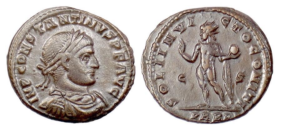 Ancient Coins - CONSTANTINE I. AE follis, Arles mint, 317-318 AD. Sol