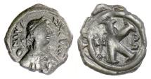Ancient Coins - BYZANTINE, Justin I. AE half follis. Constantinople mint.