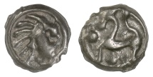 Ancient Coins - CELTIC, Northwest GAUL, Senones. Circa 100-50 BC. Stylized head / horse