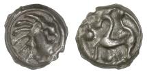 CELTIC, Northwest GAUL, Senones. Circa 100-50 BC. Stylized head / horse