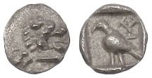 Western Asia Minor, Uncertain (Mylasa?). AR tetartemorion, circa 420-390 BC. Unpublished