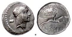 Ancient Coins - Roman Republic, C. Piso L.f. Frugi. AR denarius, Rome mint, 61 BC.  Apollo / Horseman