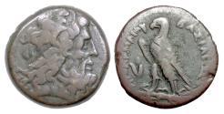 Ancient Coins - EGYPT, Ptolemy III Euergetes. AE trihemiobol, 246-222 BC. Zeus / Eagle