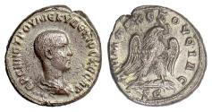 Ancient Coins - HERENNIUS ETRUSCUS, Syria, Antiochia. BI tetradrachm, 250-251 AD.  Eagle on palm