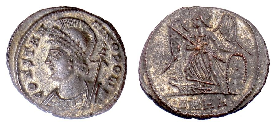 Ancient Coins - Constantinople City Commemorative, AE Follis, Heraclea Mint 330-333 AD. Victory