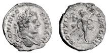 Ancient Coins - Caracalla. AR denarius, Rome, struck 207 AD.  Mars