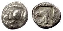 Ancient Coins - MYSIA, Cyzicus. AR trihemiobol, circa 525-475 BC. Boar & Tunny / Lion