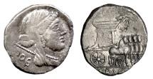 Ancient Coins - Roman Republic, L. Rubrius Dossenus. AR denarius. Rome mint, 87 BC. Juno / Triumphal quadriga