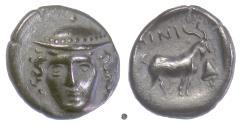 Ancient Coins - THRACE, AINOS. AR Tetrobol, circa 402-360 BC. Hermes / Goat. RARE