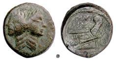 Ancient Coins - Roman Republic, Sextus Pompey. AE As, 42-38 BC, Sicilian mint.   Janus / Prow