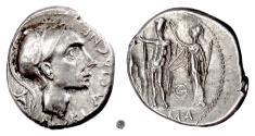 Ancient Coins - Roman Republic, Cn. Blasio Cn.f.   AR Denarius, Rome mint, 112-111 BC.   Mars / Jupiter being crowned