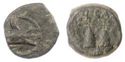 Ancient Coins - SELEUKID KINGS, Antiochos VII. AE denom D, Antioch mint. Ship's ram / Pilei. Scarce