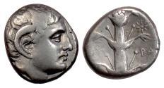 Ancient Coins - KYRENAICA, Kyrene. AR Didrachm, time of Ptolemy I, ca 308-305 BC. Apollo / Silphium