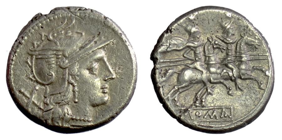 Ancient Coins - Roman Republic, Anonymous. AR denarius. Rome mint. 189-180 BC. Dioscuri on horseback
