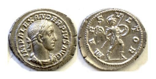 Ancient Coins - Roman, Severus Alexander. AR denarius, Rome mint. Struck 231-235 AD