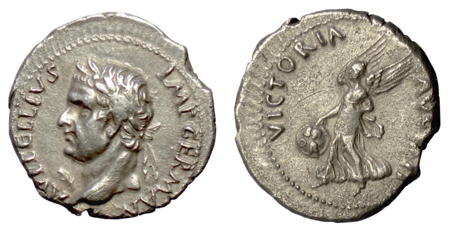 Ancient Coins - Vitellius. AR Denarius. Spanish mint. Struck 69 AD. Victory. SCARCE