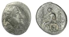 Ancient Coins - SELEUKID, Antiochos II Theos. AE denomination C, Antioch mint. Apollo. Countermark: EY