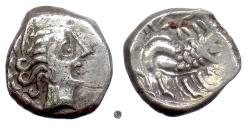Ancient Coins - CELTIC GAUL, Insubres or Salluvi(?).  AR Drachm, late 2nd-early 1st Century BC.  Female head / Lion