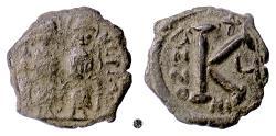 Ancient Coins - BYZANTINE, Justin II, with Sophia. AE half follis, Nikomedia mint, 569/70 AD