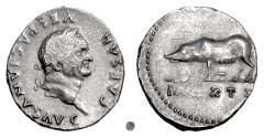 Ancient Coins - VESPASIAN.  AR Denarius, Rome mint, 77-78 AD.  Sow with piglets