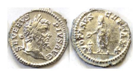 Ancient Coins - SEPTIMIUS SEVERUS. Fouree denarius. Prototype struck 201-210 AD at the Rome mint