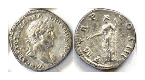 Ancient Coins - HADRIAN. AR denarius. Rome mint. Struck AD 118