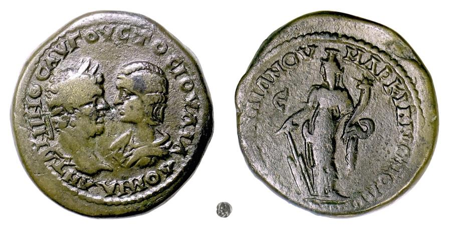 Ancient Coins - CARACALLA and JULIA DOMNA, Marcianopolis. AE 29, 198-217 AD.  Tyche