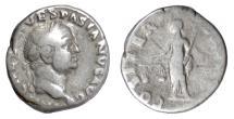 Ancient Coins - VESPASIAN. AR denarius, Rome mint, struck 70 AD. Aequitas