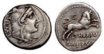 Ancient Coins - Roman Republic. AR Denarius, L. Thorius Balbus, Rome mint 105 BC