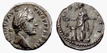 Ancient Coins - Antoninus Pius. AR Denarius, Rome mint. Struck 145-147 AD. Salus
