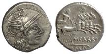 Ancient Coins - Roman Republic, M. Carbo. AR denarius. Rome mint, 122 BC. Roma / Jupiter driving quadriga
