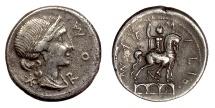 Ancient Coins - Roman Republic, Man. Aemilius Lepidus. AR Denarius, Rome mint, 114-113 BC. Roma / Statue