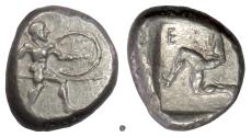 Ancient Coins - Pamphylia, Aspendos. AR Stater, circa 465-430 BC. Warrior / Triskeles