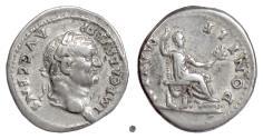 Ancient Coins - VESPASIAN. AR denarius, Rome mint, struck 73 AD