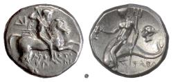 Ancient Coins - CALABRIA, Tarentum. AR nomos, circa 272-240 BC. Youth on horse / Taras on dolphin.  Scarce