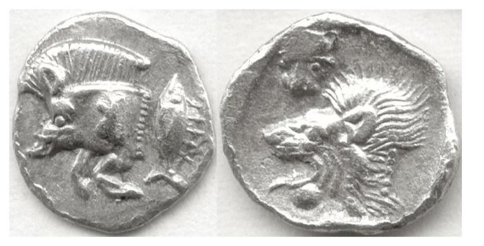 Ancient Coins - MYSIA, Kyzikos. AR Hemiobol, c. 550-500.